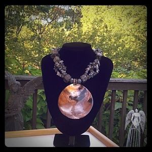 VINTAGE Genuine Heishi Shell Chunky Stone Necklace